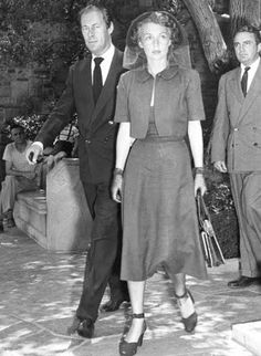 Rex Harrison and his wife Lili Palmer at the funeral