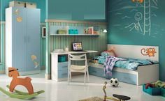 Muebles juveniles para habitación diseño, cama y escritorio niños.