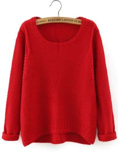 Jersey cuello redondo asimétrico suelto-(Sheinside)