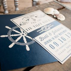 Love the nautical theme for weddings! Check out my sister's awesome invitation designs!  Rustic Wedding Nautical Save the Date  - Nautical wedding, save the date card, ship wheel, anchor, tie that binds, Johnny Cash, rockabilly