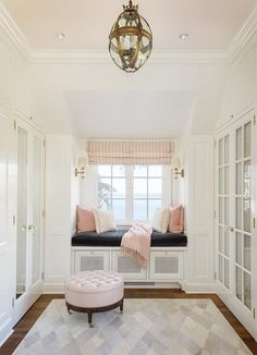 Let these window seat room ideas inspire you to create additional seating, more storage, and more relaxing moments in your home. Pink Closet, House, Interior, Home, Bedroom Design, House Interior, Interior Design, Window Seat, Trendy Bedroom