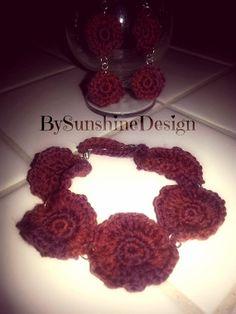 Crochet Earrings and Bracelet set by BySunshineDesign on Etsy, $10.88