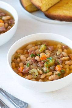 Instant Pot Ham and White Bean Soup This hearty and flavorful soup is loaded with ham white beans veggies and seasonings. No soaking is required for the beans An easy effortless and delicious dinner prepared in your pressure cooker! Ham And Beans, Ham And Bean Soup, White Bean Soup, White Beans, Bean Recipes, Pork Recipes, Cooking Recipes, Instant Pot Beans Recipe, Grilled Sandwich