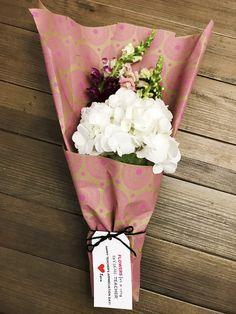 Teacher Appreciation Day hydrangea wrapped bouquet Teacher Appreciation, Hydrangea, Bouquet, Spring Summer, Chic, Rose, Flowers, Shabby Chic, Elegant