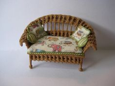 Quarter scale miniature wicker loveseat by CherylHubbardMinis on Etsy Cheryl, Wicker, Love Seat, Accent Chairs, Armchair, Scale, Miniatures, Handmade, Etsy