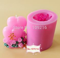 wholesale!!!1pcs New 8*6.2*4.5CM 3D Double Love(LZ0137) Silicone Handmade Candle Mold Crafts DIY Mold