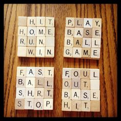BASEBALL Drink Coasters, Scrabble, Made to Order,