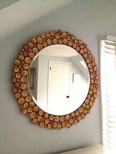 DIY mirror with wood slices – doing this to my plain oval mirror in downstairs BR. DIY mirror with wood slices – doing this to my plain oval mirror in… Other Diy Ideas, Spiegel Design, Designer Spiegel, Wood Slice Crafts, Handmade Mirrors, Circular Mirror, Diy Casa, Diy Mirror, Mirror Ideas