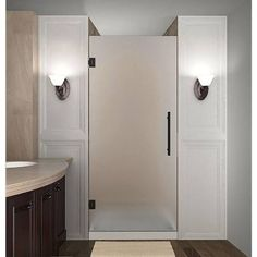 Shop Coastal Shower Doors Illusion To 47 In Oil Rubbed Bronze Frameless Hinged Shower