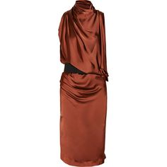 Donna Karan Asymmetric draped satin-jersey dress (1,390 CAD) ❤ liked on Polyvore featuring dresses, vestidos, merlot, loose dresses, rust dress, brown wrap dress, donna karan dresses and panel dresses