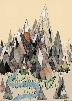 daphne van den heuvel drawing australian street art Reminds me of a book I'm reading :) Art And Illustration, Illustrations, Mountain Illustration, Mountain Art, Tattoo Mountain, Mountain Range, Mountain Sketch, Mountain Drawing, Art Design