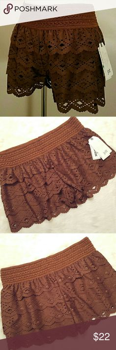 "NWT: Jolt Laser cut shorts Rich chocolate brown , flirty elastic waist shorts with rows of scalloped edge laser cut tiers. Fully lined with wide waist band and 2.5"" inseam. Colors may appear differently in person than on digital devices. Jolt Shorts"