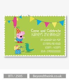 Personalised Peppa Pig George Pig & Dinosaur Invitations. Printed on Professional 300 GSM smooth card with free envelopes & delivery as standard. www.beyondtheink.co.uk