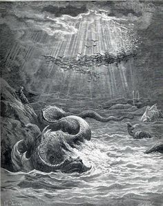 """The Creation of Fish and Birds"" by Gustave Dore,  Completion Date: c.1868, Style: Romanticism."