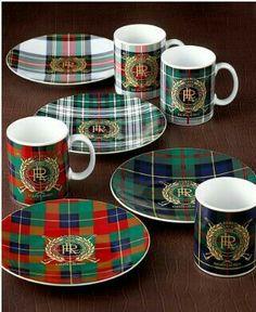 Ralph Lauren Tartan Plates and Mugs Scottish Decor, Scottish Plaid, Scottish Tartans, Tartan Christmas, Christmas China, Celtic Christmas, Spode Christmas, Tartan Decor, Motif Tartan