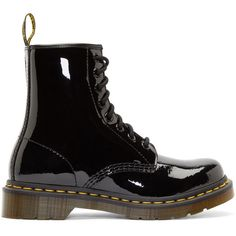 Dr. Martens Black Patent 8-Eye 1460 Boots (240 BRL) ❤ liked on Polyvore featuring shoes, boots, ankle booties, black, botas, black round toe boots, patent boots, black patent booties, ankle high boots and black ankle booties