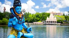The Shiva Hindu temple on Grand Bassin Lake on the island of Mauritius