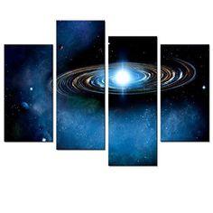 [Framed] Blue Space Universe Galaxy Wall Art Prints Canvas Picture Home Decor #VisualArt #ArtDeco
