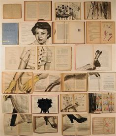 Artist Ekatarina Panikanova creates paintings across large spreads of old books, resulting in artwork that blurs the lines between painting, installation and collage. Born in St Petersburg in 1975 Panikanova graduated from the Academy of Fine Arts and was given a studio to work from for five years. She now lives and work in Rome (from thisiscolossal.com)