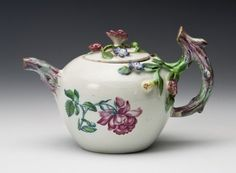 Daily Pleasures: French Ceramics from the MaryLou Boone Collection. Teapot  Niderviller, France c. 1745-1755 Earthenware with tin glaze and enamel (petit feu faïence), The Huntington Art Collections, Gift of MaryLou Boone, 2010.6.11, cat. no. 46