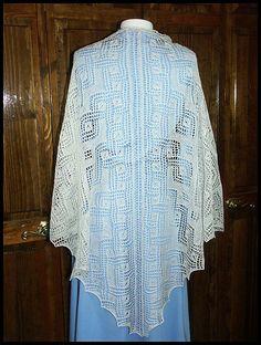 """Mystic Ice"" knit lace shawl in wool/silk lace weight yarn (pattern by Anna Dalvi)"