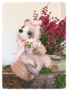 Little Pink Bear By Sadovska Tetiana  - Little Pink Bear Made from beautiful pink mohair. head on a round pin. soft body- filled silicon and metal granulat - very pleasant tactile sensations. Very cute little bear ♥️♥️