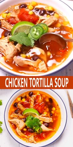 Easy Chicken Tortilla Soup – The best, very quick and easy to prepare homemade chicken tortilla soup recipe. Easy Chicken Tortilla Soup – The best, very quick and easy to prepare homemade chicken tortilla soup recipe. Authentic Chicken Tortilla Soup, Healthy Chicken Tortilla Soup, Chicken Enchilada Soup, Chicken Soup Recipes, Easy Soup Recipes, Keto Recipes, Healthy Soup, Chicken Soups, Cabbage Hamburger Soup Recipe