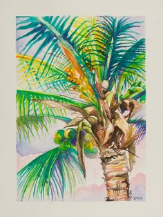 Beach Watercolor, Watercolor Trees, Watercolor And Ink, Watercolor Paintings, Watercolours, Flower Art, Art Flowers, Cactus Y Suculentas, Tropical Art