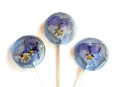 PURPLE EDIBLE VIOLA Flower Lollipops, Blueberry Ice, Party Favors, Sweet, Colorful, Wedding Party, Something Blue (3) 2 inch Organically grown
