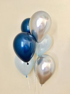 Navy Light Blue Silver Chrome Latex Balloons~First Birthday~Wedding~Bridal Shower~Baby Shower~Bachelorette Party~Navy Silver Party Decor