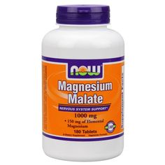 NOW Foods Magnesium Malate Nervous System Support, 1000 mg, 180 Ct