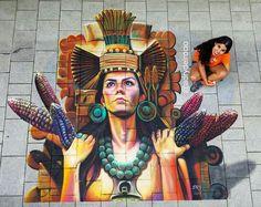 Centeotlcíhuatl, my interpretation of the Aztec corn goodness. #adrydelrocio #chalkfestival #streetart