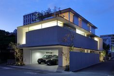 Japan House Design, Luxury Garage, Garage House, Concrete, Sweet Home, Villa, Floor Plans, Exterior, Mansions