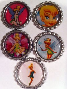 Tinker bell set of 5 themed finished flat bottle cap  on Etsy, $5.50 Disney Buttons, Tinker Bell, Bottle Caps, Coasters, Etsy Shop, Flat, Toys, Unique Jewelry, Handmade Gifts