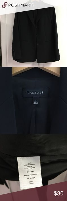 Talbots Jacket/ Black, Size 6 100% Polyester, gently used, very good condition! This item is from a Smoke and Pet free house! Talbots Jackets & Coats Blazers