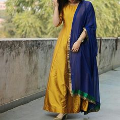 Yellow Solid Poly Silk Plain Semi Stitched Long Anarkali Suit #Yellow  #Solid  #Poly Silk  #Semi Stitched