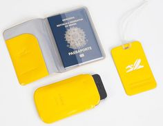 Kit Capa Passaporte Tag Mala e Case Celular Amarelo