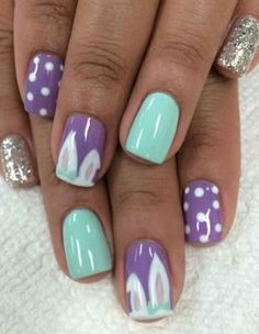 Easter nails #nailart #easter #rabbitears #nails