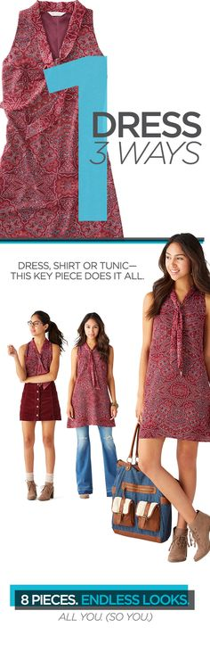 The best kind of back-to-school outfits are ones that you can wear lots of different ways. What makes back-to-school shopping even sweeter is when you find a dress that's on trend and at a great price. This tie-neck swing dress with retro-cool patterns can be worn as a tunic, shirt or dress—making it a go-to piece for any school occasions. You'll have endless outfits for back to school.