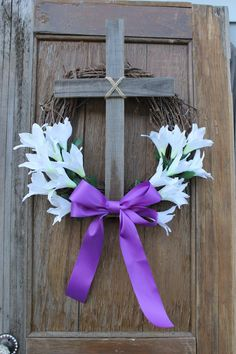 Items similar to Easter Wreath: Cross Wreath; Burlap Easter Cross Door Hanger, Purple Cross Wreath with Lily Center on Etsy Diy Ostern, Easter Cross, Door Wreaths, Yarn Wreaths, Floral Wreaths, Holiday Decor, Holiday Wreaths, Easter Wreaths Diy, Easter Party