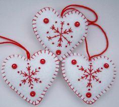 snowflake felt | Felt Heart decorations Embroidered Snowflake ... | REALLY CUTE FELT ...