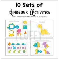 Dinosaur Activities for Preschool (Distance Learning) by Fluffy Tots All Dinosaurs, Dinosaurs Preschool, Dinosaur Activities, Motor Activities, Dinosaur Printables, Shapes Worksheets, Shape Matching, Weird Pictures, Fine Motor