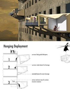 Survivors of floods could hang out in prefabricated modular dwellings that cling onto abandoned buildings like parasites, in this concept by designer Mike Reyes. Created for Sao Paulo, Brazil, the structures are brought in by helicopters and hook onto the windows of abandoned structures (of which there are plenty in that particular city).