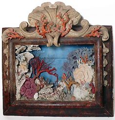 Jun 2013 - Wooden baroque frame with marine diorama, Italy, 1790 Baroque, Shell Game, Toy Theatre, Seashell Art, Assemblage Art, Objet D'art, Decorative Objects, Sea Shells, Folk Art