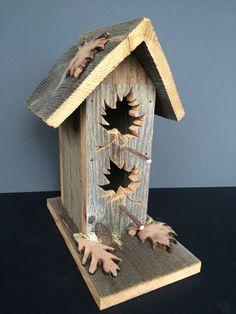Rustic Birdhouse, Cedar Bird House, Barnwood Birdhouses, Wooden Leaves, Yard Art