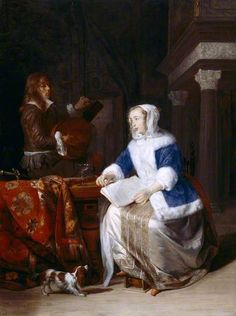Gabriel Metsu, A couple making music in an interior, at Upton House . Cavalier King Spaniel, King Charles Spaniel, Gabriel Metsu, Amsterdam, 17th Century Clothing, Baroque Painting, Johannes Vermeer, Dutch Golden Age, National Gallery Of Art