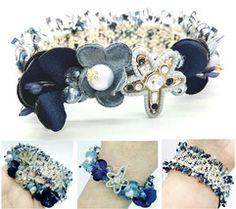 Stylish Bracelet, Fashion Bracelet, Tweed Gray, Flower Bracelet, Charm Blue Flower, Fabric Flowers, Winter Jewelry, Gray Flower, Made of Wool Flower, Unusual Bracelet, Fabric Accessories, Charms Star, Wool Flower, Business Style, Casual Jewelry...