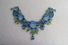Blue and green flower and lace applique by TheIrishKnittingRoom Green Flowers, Lace Applique, Patches, Trending Outfits, Unique Jewelry, Handmade Gifts, Blue, Etsy, Vintage