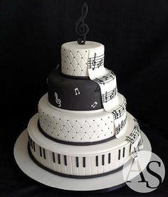 Music Wedding Cake Take some idea for Spencer's 17 Music Wedding Cakes, Music Themed Cakes, Music Cakes, Music Birthday Cakes, Pretty Cakes, Beautiful Cakes, Amazing Cakes, Bolo Musical, Piano Cakes