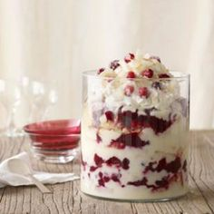 """Cranberry Coconut Trifle - Antioxident packed cranberries and brown butter sponge cake enclosed in a """"skinny' custard that tastes uber rich!"""